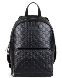 6830ea65b25 Gucci - Black Leather Backpack In Signature - Lyst