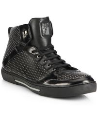 Versace Studded Leather High-Top Sneakers - Lyst