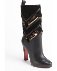 Christian Louboutin Black Calf Leather Suede Detail Cutout Detail 'Romy 100' Boots - Lyst