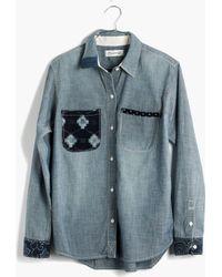 Madewell Kiriko&Trade; & Patched Chambray Shirt - Lyst