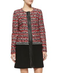 Milly Couture Tweed Multimedia Coat 0 - Lyst