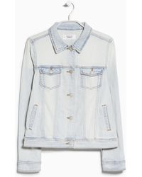 Mango Bleached Denim Jacket - Lyst