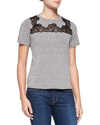 Rebecca Taylor Laceinset Shortsleeve Top - Lyst