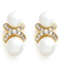 Kenneth Jay Lane Crystal Pavé Faux Pearl Earrings - Lyst