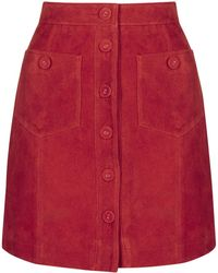 Topshop | Tall Button Suede Skirt | Lyst