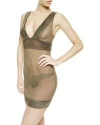 Noё Tulle Nervures Slip With Thong green - Lyst