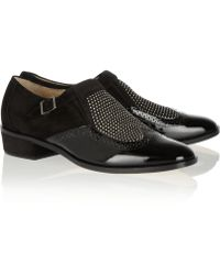 Jimmy Choo Bay Studded Suede And Patent-Leather Monk-Strap Loafers - Lyst