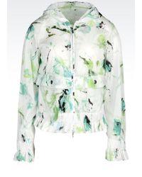 Armani Hooded Pea Coat In Printed Nylon - Lyst