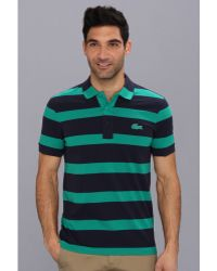 Lacoste Short Sleeve Wide Spaced Stripe Pique Polo W Contrasted Color Croc - Lyst