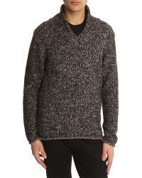 Armani Black Shawl-Collar Sweater - Lyst