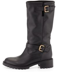 Fendi Biker Boot with Rabbit Fur Lining - Lyst