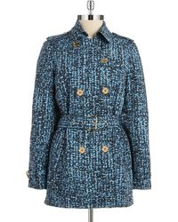 MICHAEL Michael Kors Patterned Double Breasted Trench Coat - Lyst