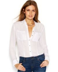 Guess Long-Sleeve Point-Collar Sheer Blouse - Lyst