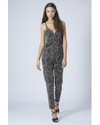 Topshop Petite Glitter Leaf Wrap Jumpsuit - Lyst