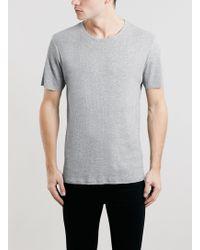 Topman Grey Rib Longline Fit T-shirt - Lyst