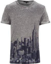 River Island Grey New York Skyline Print T-shirt - Lyst