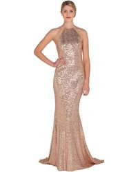 Badgley Mischka Sequin Halter Evening Gown - Lyst