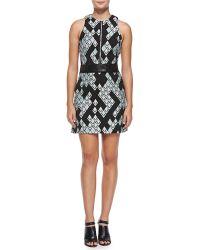 3.1 Phillip Lim Belted Geometric-Print Zip-Front Dress - Lyst