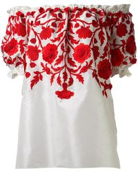 Naeem Khan - Embroidered Peasant Blouse - Lyst