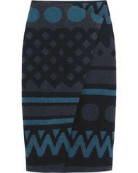 Burberry Prorsum Wrapeffect Wool and Cashmereblend Skirt - Lyst