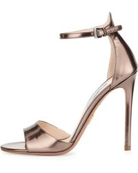 Prada Metallic Leather High-Heel Sandal - Lyst