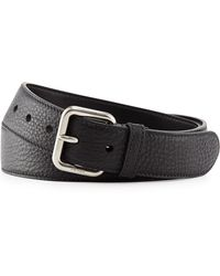 Prada Dino Pebbled Leather Silver Buckle Belt - Lyst