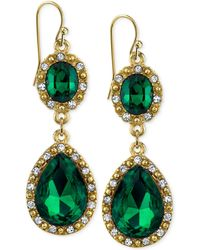2028 - Gold-tone Crystal And Green Stone Double-drop Earrings - Lyst