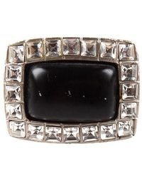 Chanel Pre-Owned Crystal Black Cushion Ring - Lyst