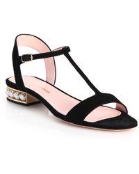 Nicholas Kirkwood | Casati Pearl-trim Suede T-strap Sandals | Lyst