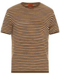 Missoni Striped Fine-Knit Cotton T-Shirt brown - Lyst