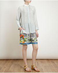 Dosa Taped Collar Silk Tunic Shirt - Lyst