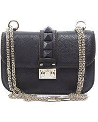 Valentino Pre-Owned Black Leather Small Rockstud Flap - Lyst