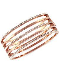 Vince Camuto - Rose Goldtone And Crystal Stacked Bangle Bracelet - Lyst