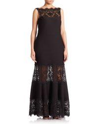 Tadashi Shoji Boatneck Paneled Gown black - Lyst