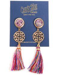 Candy Shop Vintage Lu Tassel Amethyst Earrings - Lyst