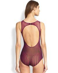 Jean Paul Gaultier Optical-Print Tulle One-Piece Swimsuit - Lyst