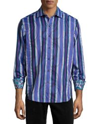 Robert Graham Mott Paisley Stripe Sport Shirt - Lyst