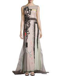 Carolina Herrera Embellished-tulle Colorblock Gown - Lyst