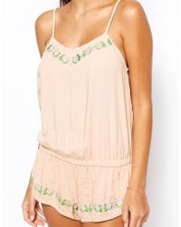 Asos Elise Embroidered Teddy - Lyst