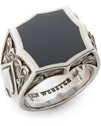 Stephen Webster Onyx Sterling Silver Ace Ring - Lyst