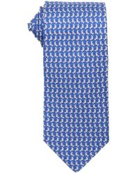 Ferragamo Blue, Light Blue And Grey Fish Print Silk Tie blue - Lyst