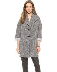 ATM Fleece Over Coat Heathered Grey - Lyst