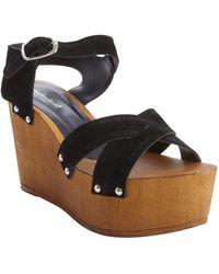 Charles By Charles David Black Suede Wooden Wedge Heel Platform Wonder Sandals - Lyst