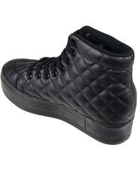 Jeffrey Campbell Sneaker Alta Donna Pelle Trapuntata Nera Zeppa Nera - Lyst