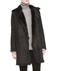 Vince Asymmetric Shearling Fur Coat - Lyst