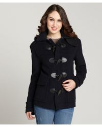 Burberry Navy Toggle Front Wool Coat - Lyst