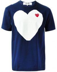 Comme Des Garçons Navy T-Shirt With White Heart - Lyst