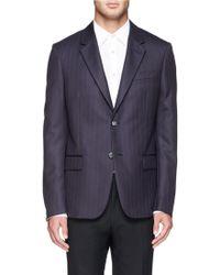 Alexander McQueen Logo Pinstripe Wool-Cashmere Blazer blue - Lyst