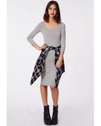 Missguided Raye 34 Sleeve Jersey Midi Dress Grey - Lyst