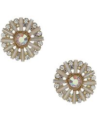 Topshop Womens Tube and Stone Stud Earrings - Clear - Lyst